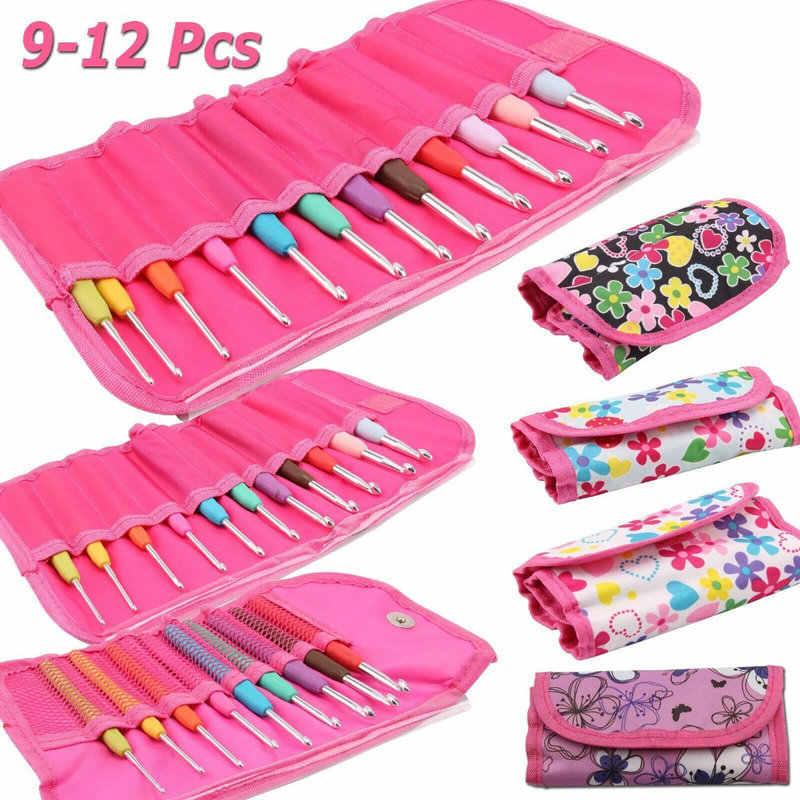Looen бренд 12 шт. набор крючков для вязания крючком смешанные размеры 2-8 мм эргономичная ручка крючком Крючки набор с сумкой для женщин подарок для мам