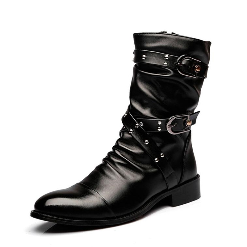 Genuine Leather Men Long Boots New Winter Knee High