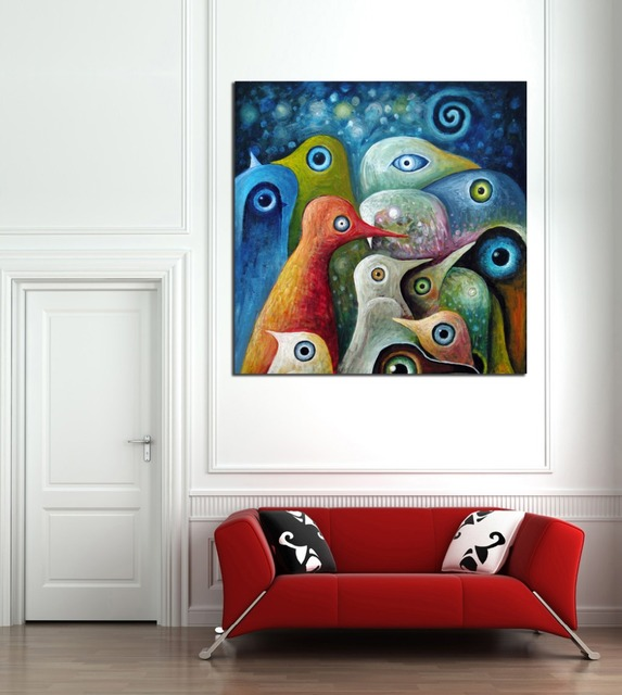 Animal Multi color Abstract Square Birds Painting Canvas Print