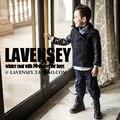 Lavensey Espesamiento de Alto Grado de Material de Lana de Los Bebés Chaquetas de Lujo Negro PU Muchachos Tops Turn Down Collar Niños Ropa Exterior