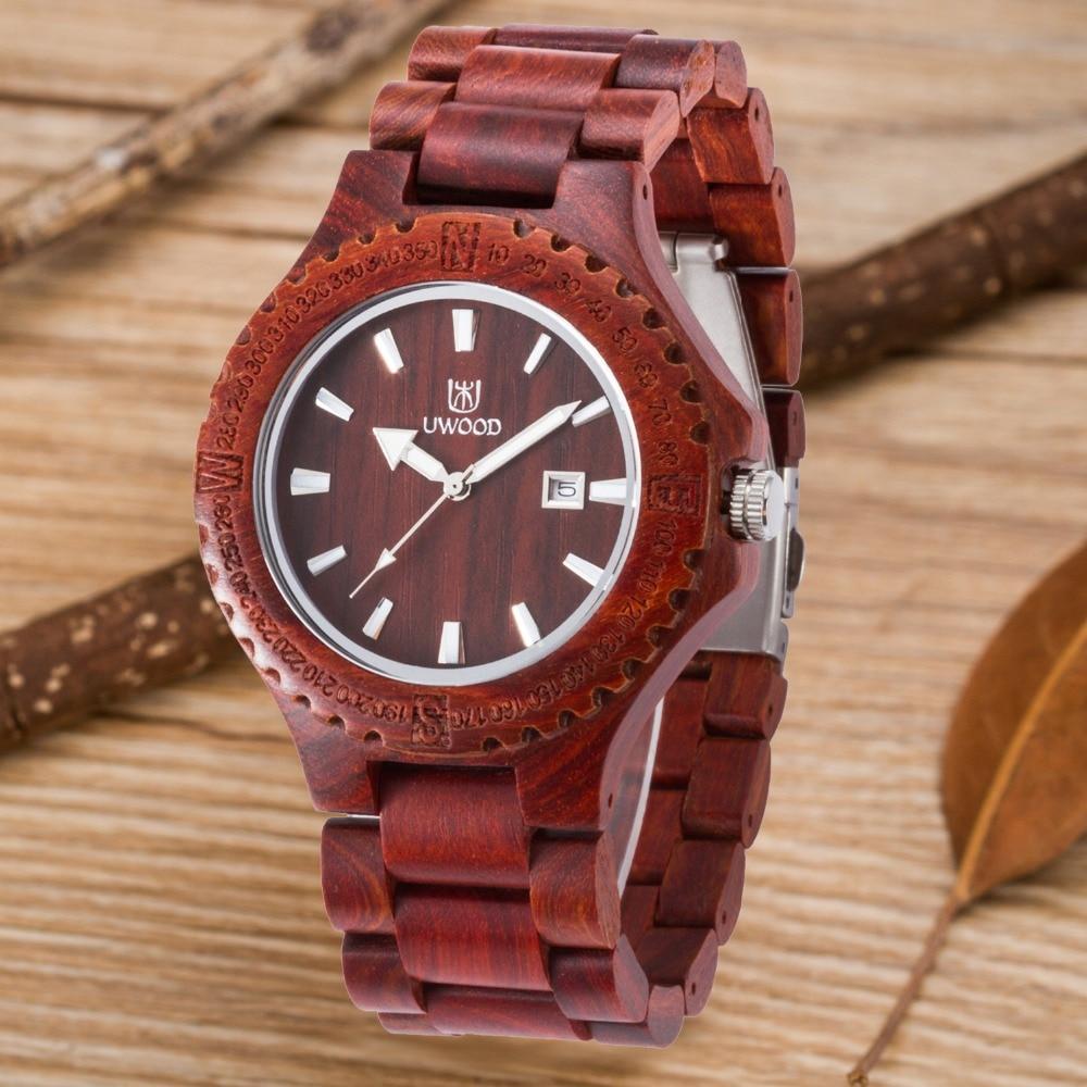 Dress Quartz Wooden Wrist Watch Men UWOOD Brand Calendar Luminous Pointers For Mens Women Lover Best Gift Wood Watches Relogio