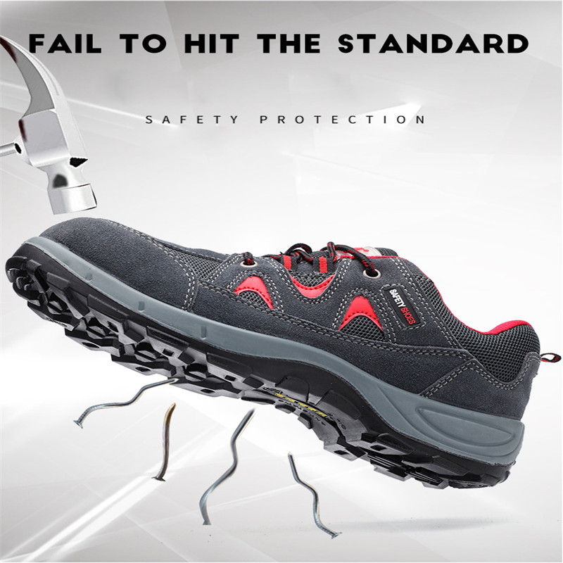 ELGEER Anti-smashing anti-piercing mens shoes new stitching breathable mesh Sneakers casual fashion couple work safety