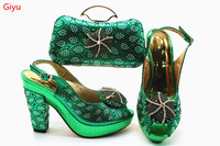 Italian green Shoe with Matching Bags Shoe and Bag Set for Party In Women Italian Matching Shoe and Bag Set with stones!HSN1 17