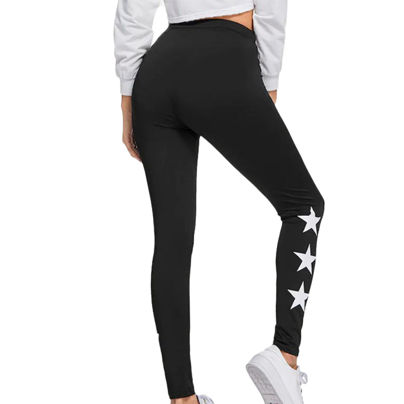 Black Cut Sew Leggings Legins Women Plain Fitness Sporting Crop Leggings Summer Athleisure Workout Leggings Star Printing Legeny
