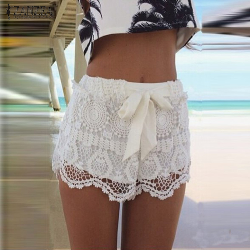 ZANZEA 2018 Women Summer Shorts Fashion Lace Hollow Out Drawstring Casual Shorts Solid Shorts Plus Size