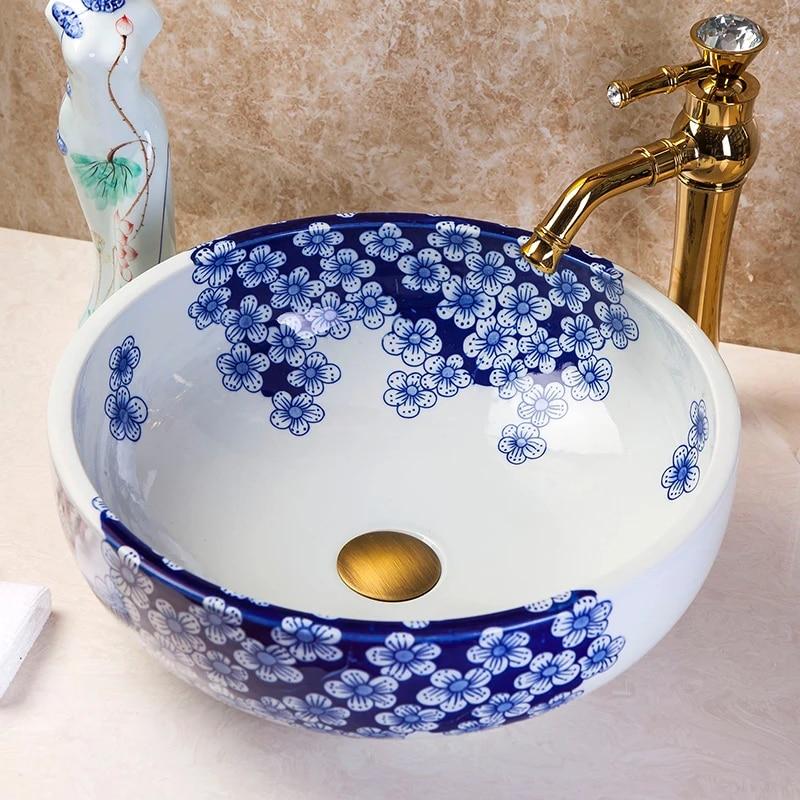 Western Antique Chinese Ceramic Colored Bathroom Basin Hand Wash Bowls Lavabo Sink Bathroom Sink Jingdezhen Ceramic Lavabo Sink Bathroom Sink Lavabo Sinkhand Wash Bowl Aliexpress