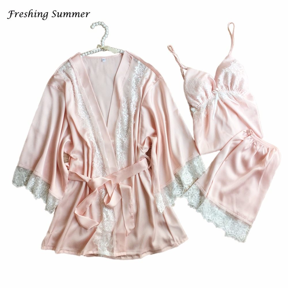 Freshing Summer RAYON SILK SPAGHETTI STRAP SEXY SOLID   PAJAMAS     SET   HALF LACE ROBE