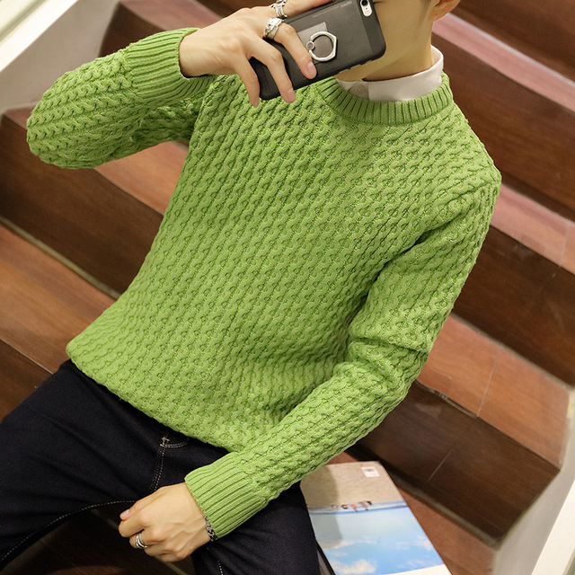 solid thick sweater o-neck full sleeve male twist knitting pullovers