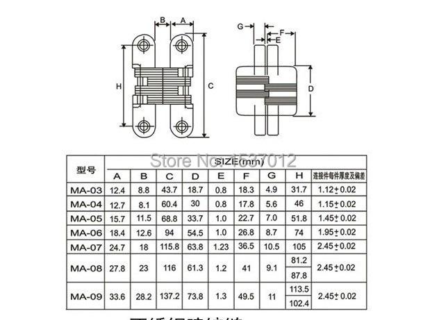 Металл MA-08 невидимые петли двери невидимые петли для дверей 116*28 мм