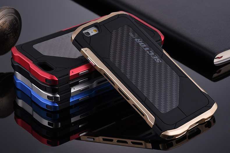 imágenes para Para el iphone 6 6 s plus Ultra thin Sector PRO Metal Aluminio + Carbono hombres Cajas Del Teléfono Celular Para el iphone 7 más Caso de Metal Cubierta Capa