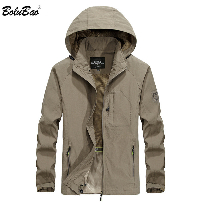 BOLUBAO Autumn New Men Trench Coats Military Style Solid Color Waterproof Men's Trench Jackets Male Brand Hooded Trench Coat