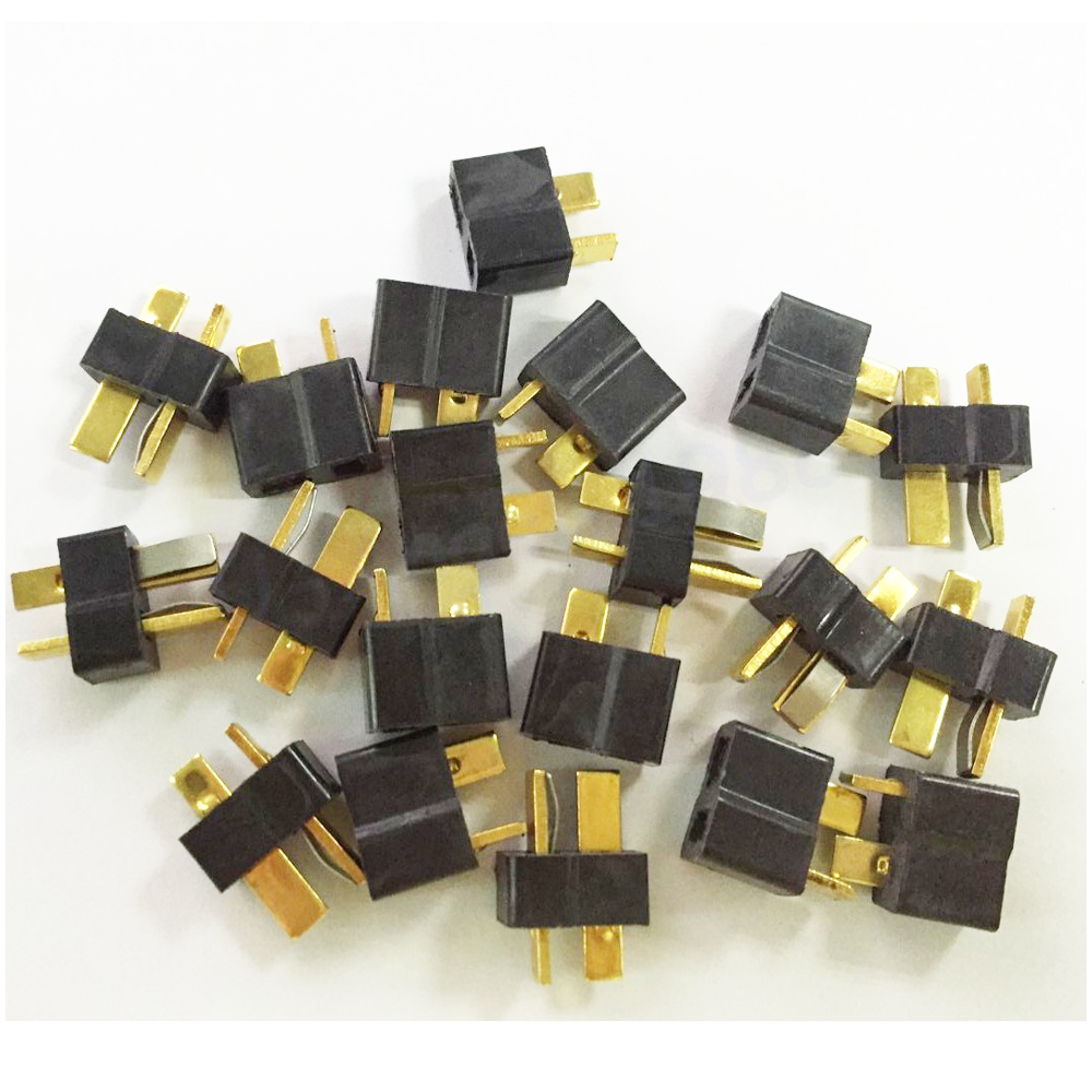 20pcs Black T Plug Connectors Male Female for Deans For RC Lipo Battery Helicopter (10pair) 20pcs t plug male
