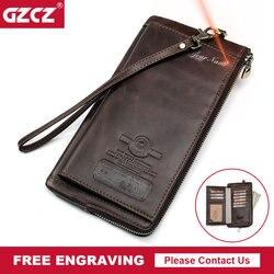 GZCZ Mannen Portemonnee Clutch Echt Leer Merk Rfid Portefeuilles Mannelijke Organizer Mobiele Telefoon Clutch Bag Lange Portemonnee Gratis Graveren