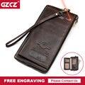 GZCZ hombres Cartera de marca de cuero genuino carteras de Rfid hombre teléfono celular de organizador de bolso de embrague largo moneda monedero gratis grabado