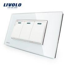 Fabricante Livolo Lujo Panel de Cristal Cristal Blanco, 3 Gang, 2 Modo de Botón de Home Pared, VL-C3K3S-81