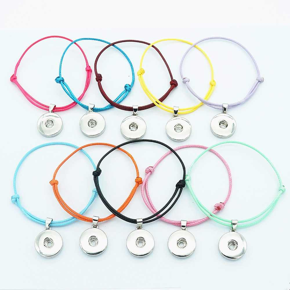 Fashion 10pcs mixed colorful simple rope snap bracelets  adjustable fit 18mm snap buttons wholesale SE0161