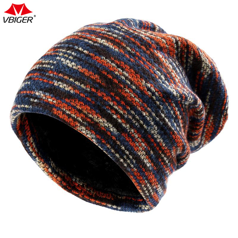 Vbiger Outdoor Winter Hats Warm Knitted Hat Knitted Beanie Caps Soft Warm Ski Hat for Both Men and Women rainbow stripe knitted fold beanie hat