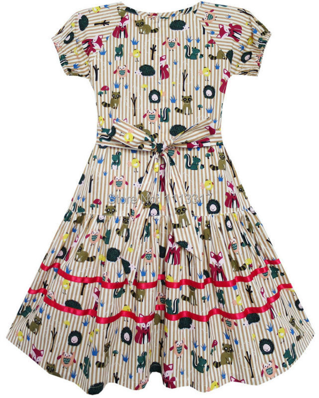 Girls Dress Fox Squirrel Bird Mushroom Striped Cotton 2018 Summer Princess  Wedding Party Dresses Kids Clothes. sku  32453229669 bb6813020f88