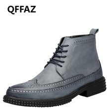 QFFAZ Men's leather shoes Autumn Winter Ankle Boots Fashion Footwear Lace Up Brogue Vintage zapatos de hombre Plush Men Boots