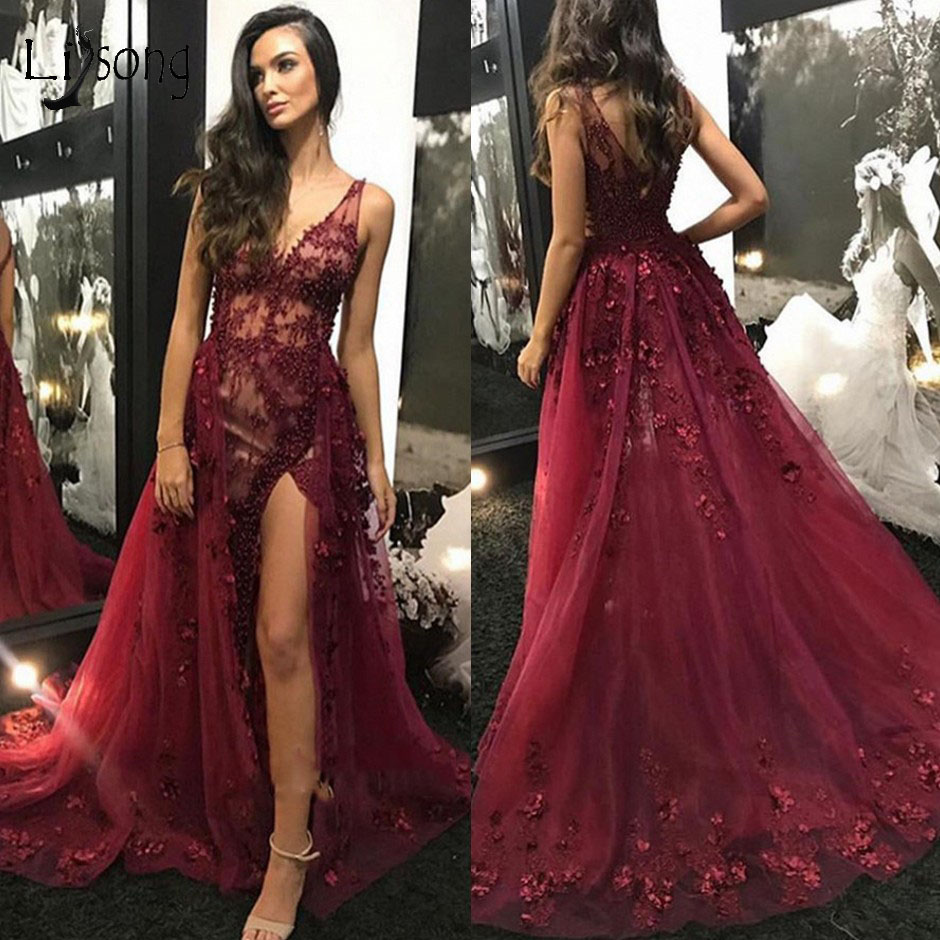 Sexy See Thru Burgundy Lace Mermaid Prom Dresses With Detachable Train Floral Pearls Split Prom Gowns Vestidos Longo 2019