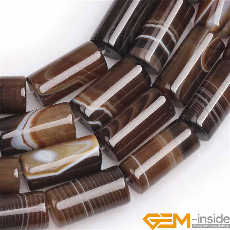10x20mm coluna tubo marrom botswana natural agata