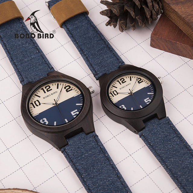 BOBO BIRD Men Women Lovers Quartz Watches Wood Luxury Ladies Wristwatch As Gift