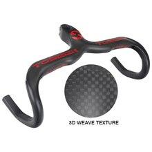 T800 3K Matte Full Carbon Fiber Road Bicycle Handlebar Integrated Bike Handle Bent Bars with Stem 400/420/440mm Black/Red стоимость