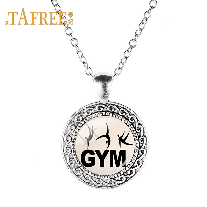TAFREE Exquisite Antique Silver Plated Pendant Necklace Gymnastics action glass cabochon Chain Necklace decoration jewelry GY101