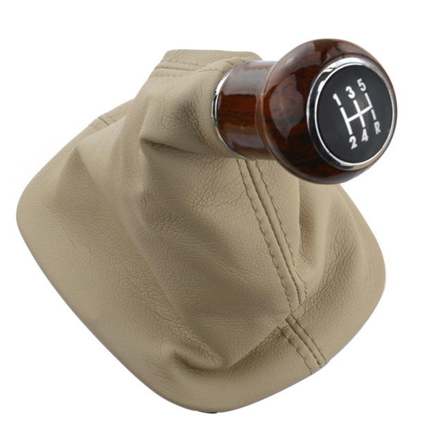 runmade For 1998-2004 VW Passat B5 / B5.5 Gear Shift Knob Cover Beige Leather Boot 5-speed Collar