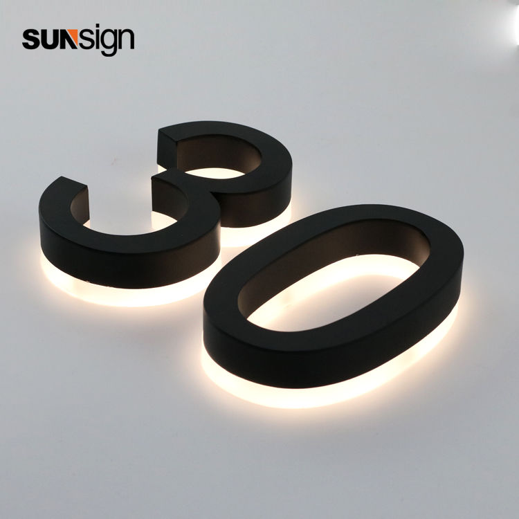 Backlit Stainless Steel Decorative Aluminum House Number