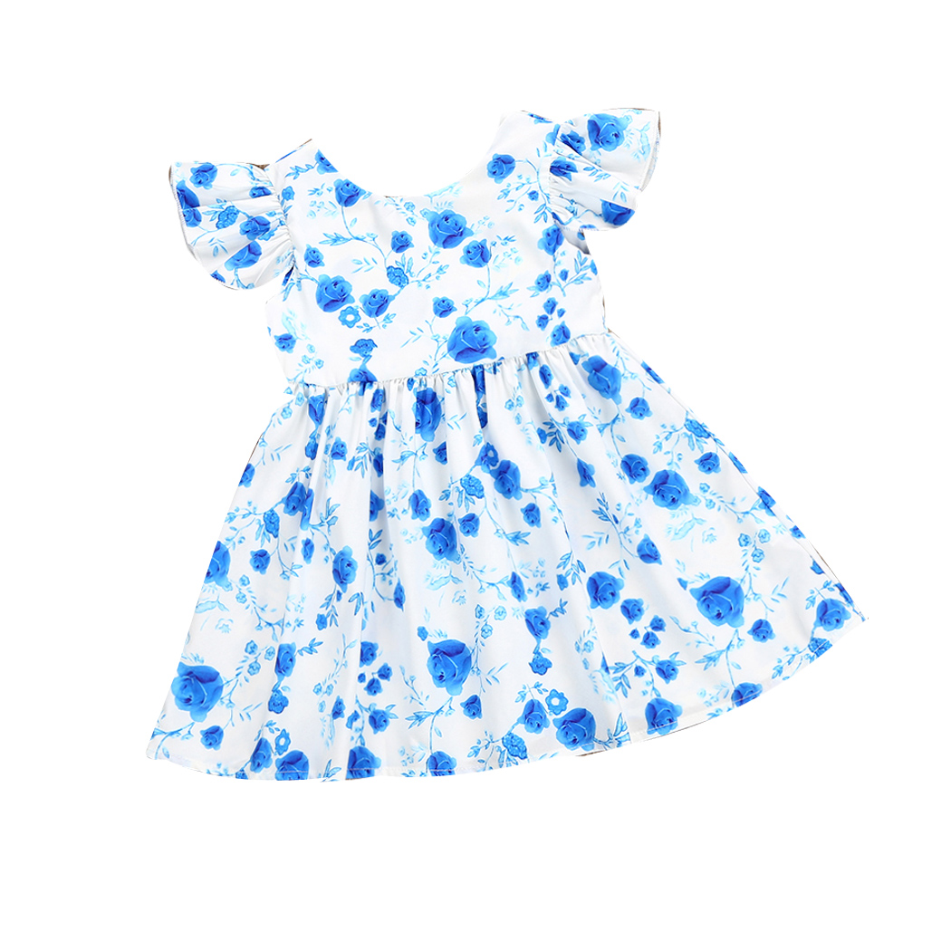 V-Neck Girls Blue Flowers Sundress Kids Summer Lovable Dress Ruffles Sleeve Backless Princess Dresses Baby Dress