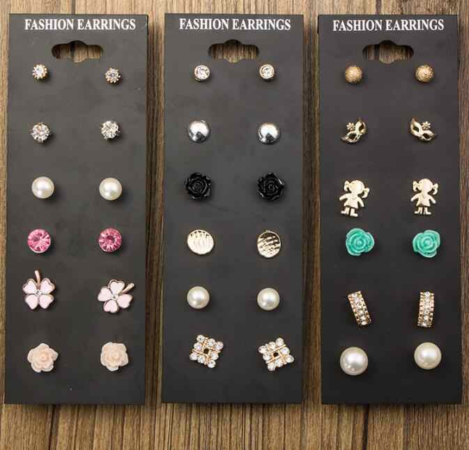 2018 New Fashion Accessories Pearl Stud Earring Pack Set 6 Pairs Birdicecream Baby Square Flower Mask Gift Women Brinco gift