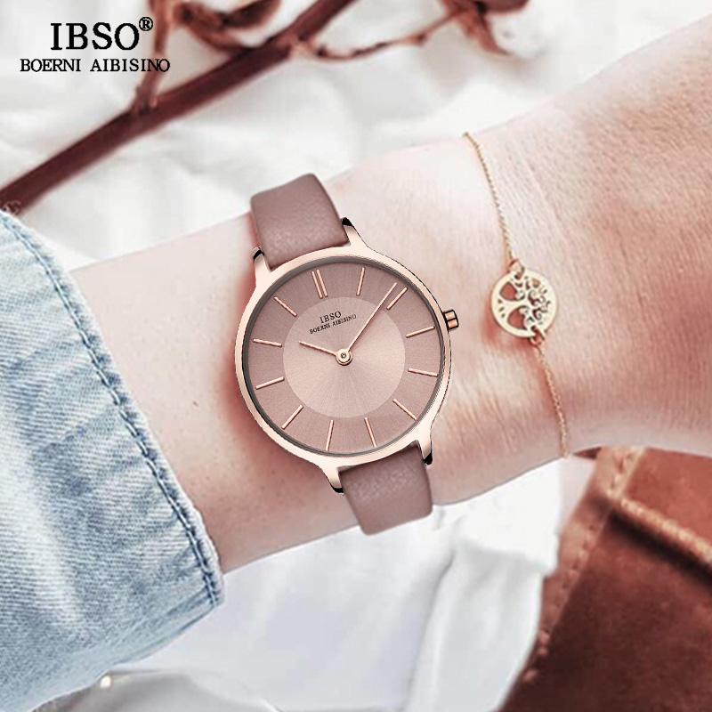 IBSO Brand 8 MM Ultra-Thin Quartz Watch Women Genuine Leather Women Watches Luxury Ladies Watch Montre Femme