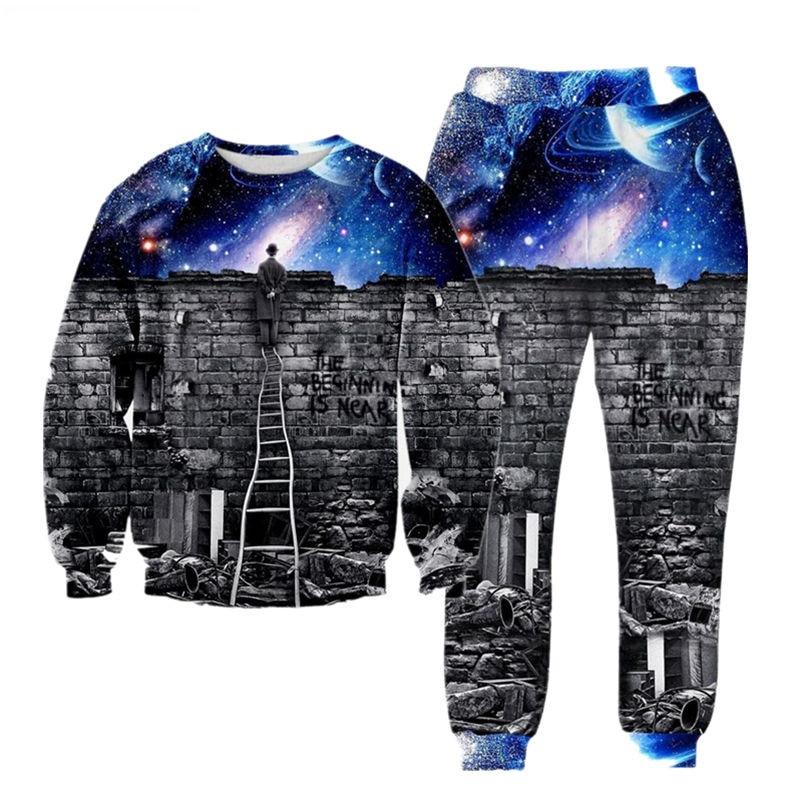 Fashion Galaxy Space Sweatshirt Joggers Tracksuit 3d Print Cat/Tiger Hoodies Pants 2pcs Sets Men/women Suits S-XXL R2399
