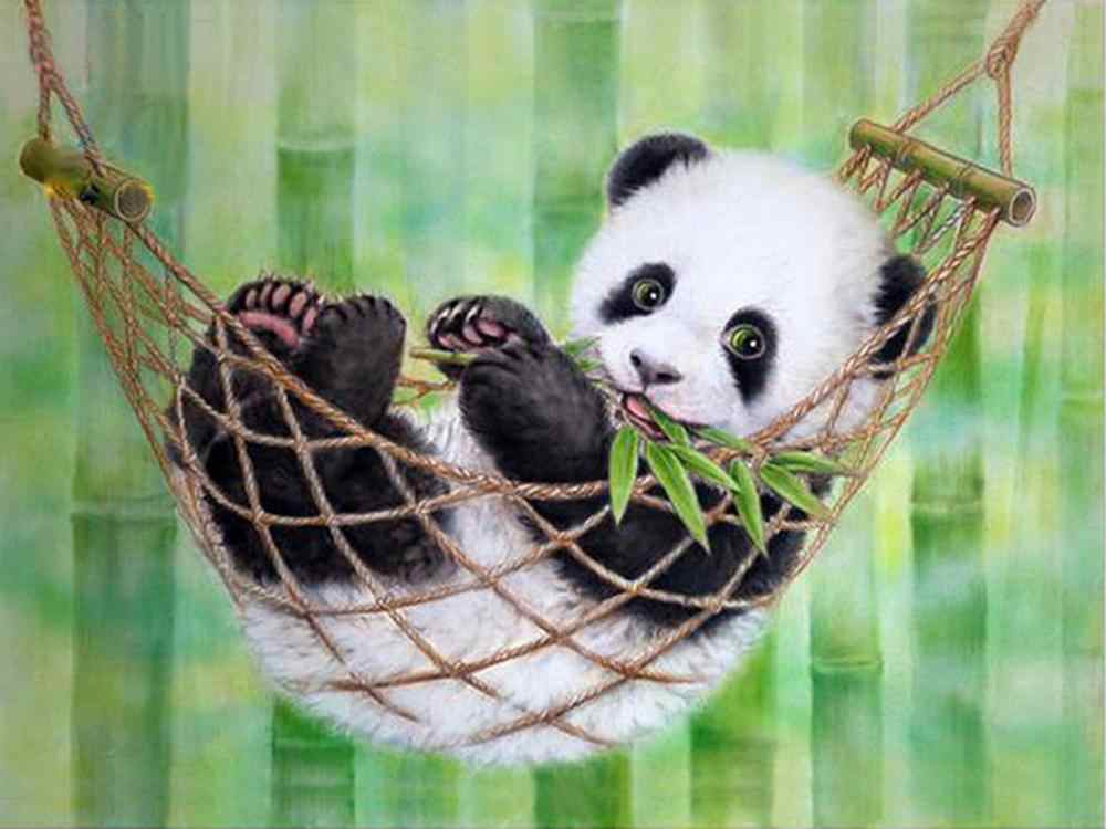 DIY Diamante Bordado Animal 5D pandas Rodada broca Casa Decoração do ponto Da cruz pintura diamante presente de Natal