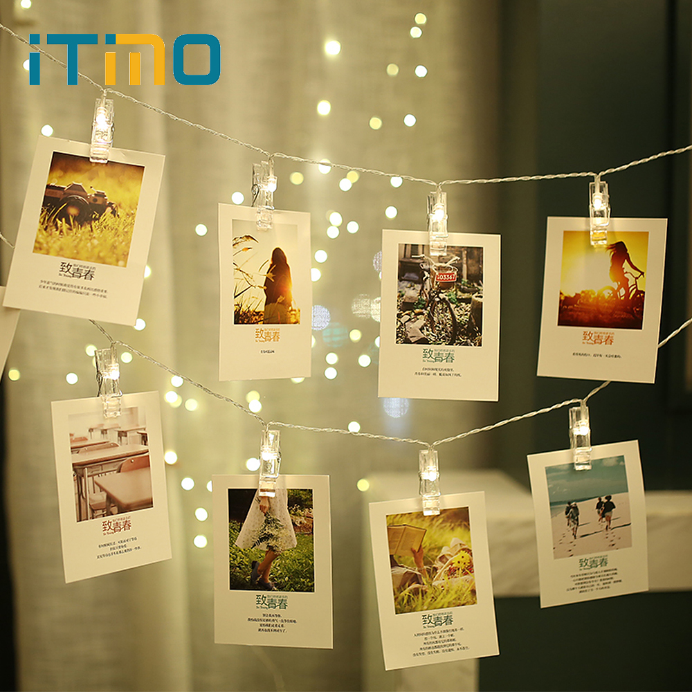 ITimo Novelty Fairy Lamp Garland New Year Christmas Holiday Decoration Lighting 3M Creative LED Card Photo Clip String Lights
