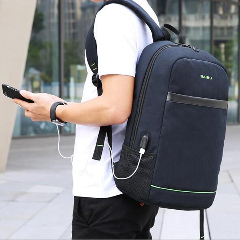 BAIBU Casual Men Backpack Fashion Waterproof 15.6inch Laptop Backpack Men Women External USB Charge Notebook Bag For Teenagers