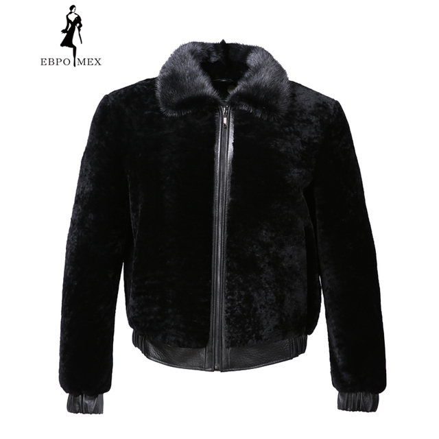 474ebfd0ef3a3 Winter mouton fur coat men Turn-down Collar black fur coat men Imported high -grade fur Fashion Slim real sheepskin coats black