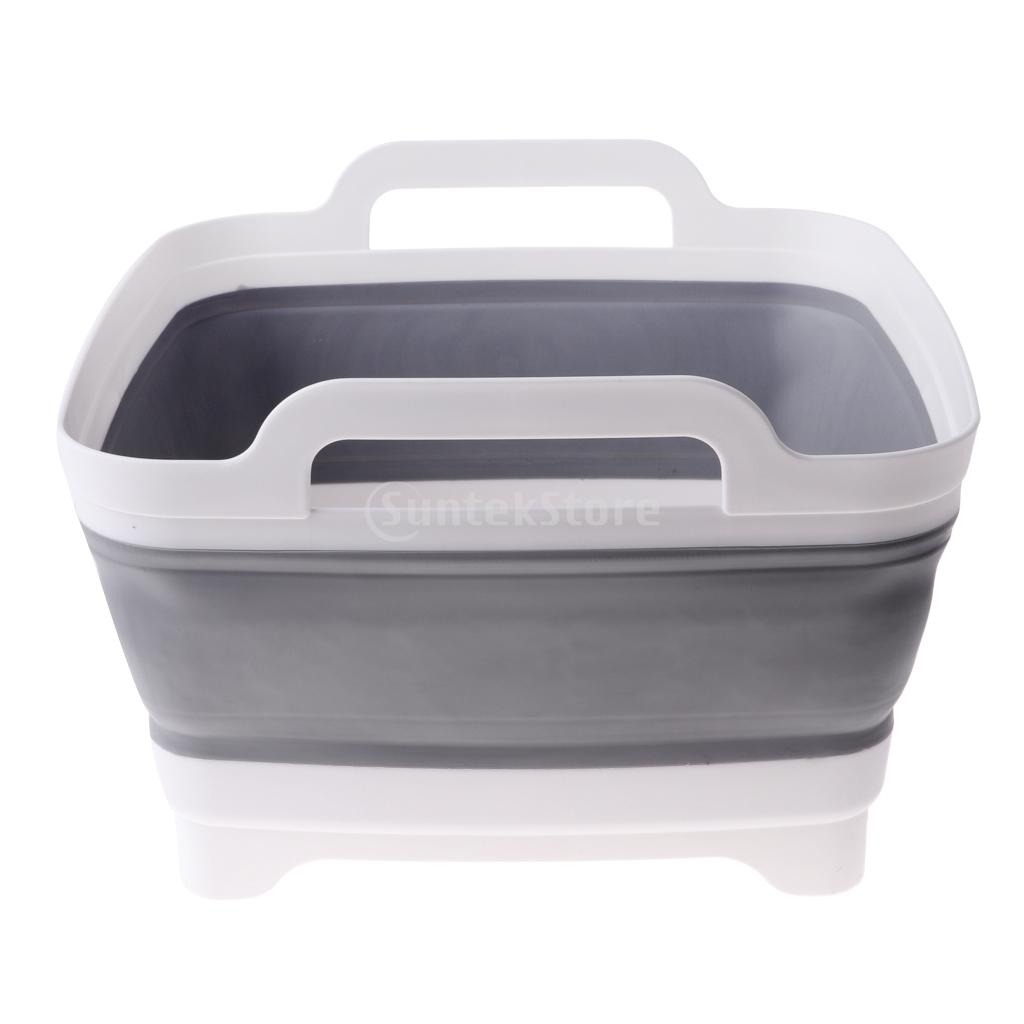 Portable Outdoor Collapsible Sink Dish Drainer Wash Tub Folding Basket Gray