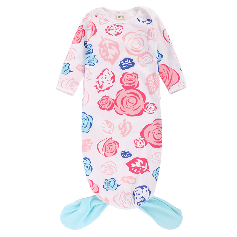 Baby Blanket Mermaid Style Floral Cotton Baby Sleep Sack Infant ...