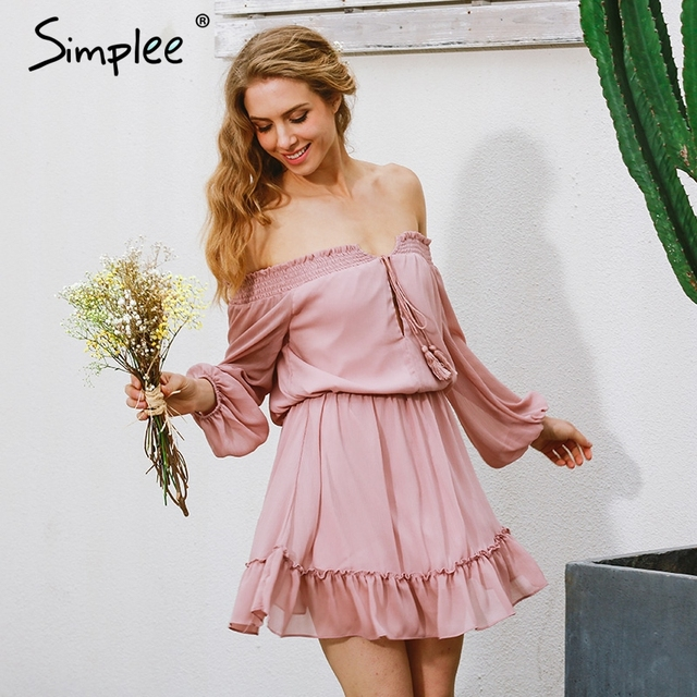 Simplee Korte chiffon vintage jurk vrouwen Uit schouder lange strand zomer jurk Ruffle sexy jurk nieuwjaar vestido