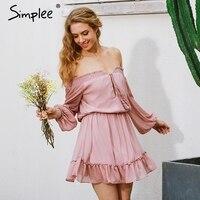 Simplee Ngắn voan cổ điển váy phụ nữ Tắt vai dài tay áo bãi biển mùa hè váy Ruffle sexy váy đầm đầm năm mới vestido