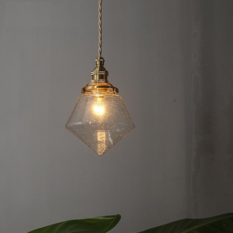 Loft Vintage LED Pendant Lamp Copper Bubble Glass Hanging Light Fixtures Deco Home Pendant Lighting Antique Droplight Lampara one light frosted glass antique rust hanging lantern