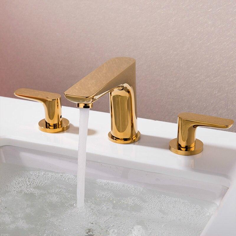A1 Double trou robinet de bassin d'eau chaude salle de bain armoire robinet cuisine trois or et trois robinets LU5144