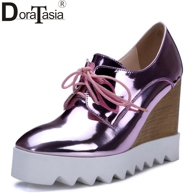 Newest Women Patent Leather High Heel Wedges Gold Silver Platform Shoes Woman 2016 Pink High-heeled Top Quality Pumps bling patent leather oxfords 2017 wedges gold silver platform shoes woman casual creepers pink high heels high quality hds59