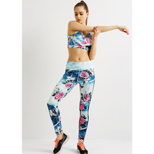 2017 New 3D Printed Peony Running Clothes Sports Bra Crop Tank Top Workout Fitness Pants Leggings Women Yoga Sets
