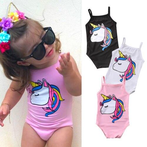 2019 Brand New Newborn Toddler Infant Kids Baby Girl Unicorn Swimwear One-piece Swimsuit Bathing Suit Beach Cartoon Clothes 0-3T