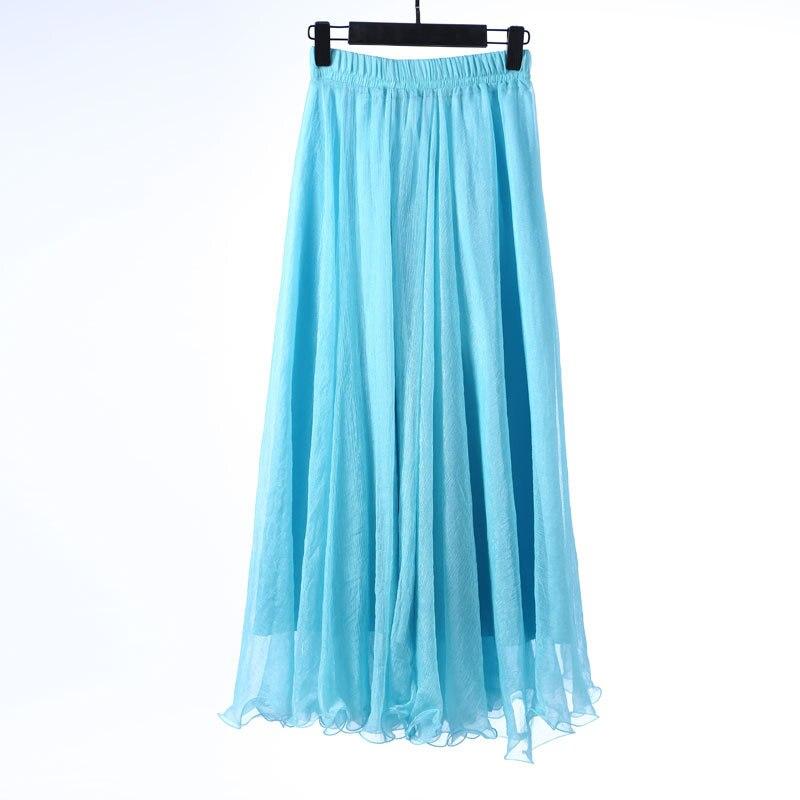 Sherhure 19 High Waist Women Chiffon Long Skirts Floor Length Ruffles White Summer Boho Maxi Skirt Saia Longa Faldas 40