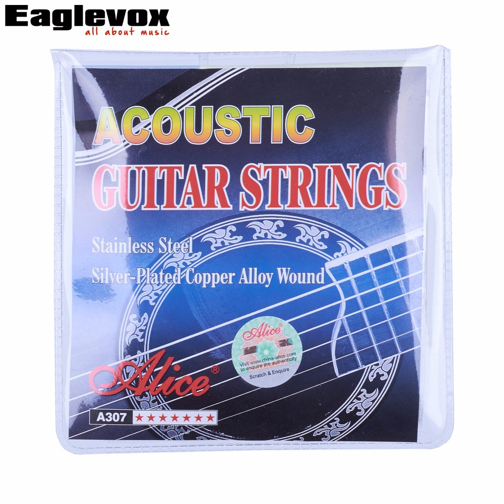 Acoustic Guitar Strings Stainless Steel 6 pcs set Silver plated Copper Alloy Wound Alice A307