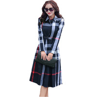 New Office Autumn Winter Plaid Print Dress Bandage Slim Elegant Cotton A Line Knee Length Women